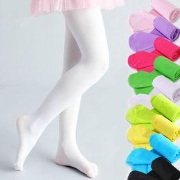 Wholesale Girls Candy Leggings - Baby Tights Girls Ballet Dancewear Soft Velvet Kids High Elastic Long Pantyhose Stockings Candy Color Ballet Dance Leggings