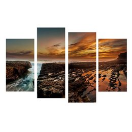 Wholesale Lighted Wall Art Panels - igh Quality wall pictures 4 Panel Canvas Art Lighting Night City Scenery Combined Painting Unframed Landscape Painting Canvas Prints Wall...