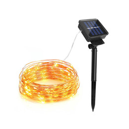 Wholesale Garden Strip Lights - 100 200 LED solar powered LED Fairy strip light 10M 20m outdoor waterproof holiday wedding, Christmas tree, New Year decoration chain