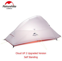 нейлоновая тафта Скидка Naturehike 2 Person Camping Tent 20D Nylon Free Standing 2 Person Ultralight Camping Tent Cloud UP Update