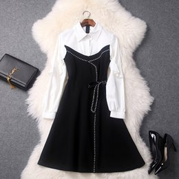 Wholesale Types Sleeves Chiffon - Women's one-piece dress Early spring New type turndown collar flouncing lantern sleeve slim dress Black and white contrast color dress
