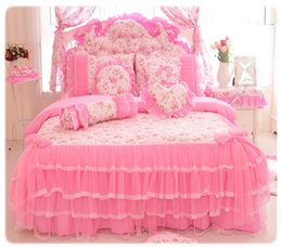 ruffle duvet set Promo Codes - Wholesale- Korea Pink Princess Bedding Set Home Textile 4pcs Lace Bow Ruffles Printed Quilt Duvet Cover Bedspread Bed Skirt 100% Cotton