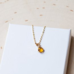 Wholesale gold birthstone jewelry - 12pcs lot NECKLACE GOLD birthstone personalized unbiological sister initial letter birth stone birthday gift silver necklace jewelry