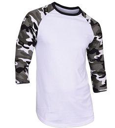 Wholesale Plain Cotton Tees Man - Loose Tops Men's 3 4 Sleeve Camouflage Baseball T-Shirt Plain Camo Tee Men's Casual T Shirt S-2XL