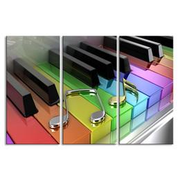3 piezas de alta definición sin marco de impresión Colorido 3D Piano lienzo pintura al óleo cartel y arte de la pared sala de estar imagen GQ-002 desde fabricantes