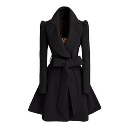 2020 damen wollkleidung Mantel des langen Mantels der Mäntel 2018 Winterfrauen-Jacke weibliche Mischungs-woolen warmer Mantel femininos plus Größen-Damenschwarz-Kleidungsgurt günstig damen wollkleidung
