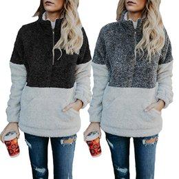 Suéter casual de la blusa del cuello del remiendo del mandarín del otoño e invierno de las mujeres ocasionales con el bolsillo con cremallera desde fabricantes
