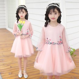 Wholesale Nice Kids Dresses - Princess Clothing Dress Big Kids Dresses Girls Summer lace gauze Tulle Dress Short Sleeve Embroidered Flower Nice DressPink Blue White A9225