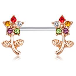 Wholesale cz ear rings - Stainless Steel 14 Gauge Nipple Ring Bar Double CZ Crystal Curved Flower Body Piercing Jewelry Ear Nipple Barbell 20pcs