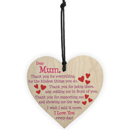 Wholesale wholesale heart shaped candles - Mothers Day Party Pendant Decoration Carving Heart Shape Pendants For Home Decor English Letter Mini Wooden Ornament Brown 1 3ls BW