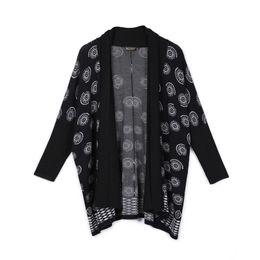2019 japanischer graben Frauen-Weinlese-japanischer schwarzer Chiffon- Trench Cran Fan-Druck-Kurzschluss / lange Wolljacke Outwear günstig japanischer graben
