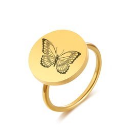 Regalos únicos de la mariposa online-Vnox Butterfly Cat Ring Mujeres Color Oro Chica de acero inoxidable Unique Gift Size 6 7 8 9