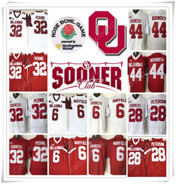 Wholesale Dry Bowl - Rose bowl 2018 NCAA Oklahoma Sooners College Barry Sanders Baker Mayfield 6 Peterson 28 Perine 32 BOSWORTH 44 Jersey RUGBY
