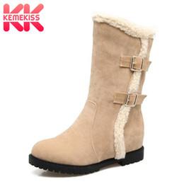 2019 botas de hebilla vintage KemeKiss Mujeres Sexy Cuñas Botas de nieve Hebilla de invierno de piel de felpa Botas a media pierna cálidos zapatos de dedo del pie redondo de las mujeres de la vendimia del tamaño del zapato 33-43 botas de hebilla vintage baratos
