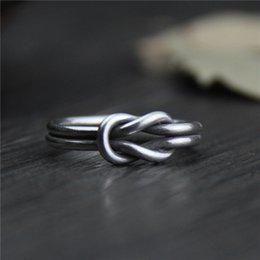 Wholesale Sterling Silver Knot - designer jewelry fashion charms 999 sterling silver rings Handmade Adjustable Knot ring men and women retro vintage wholesale china direct