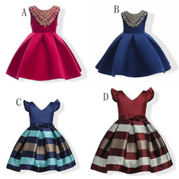 Wholesale Babies Clothes Shops - 2018 new baby stripe dress cotton Princess dresses summer Kids Clothing girls Ball Gown free shopping