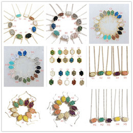 Wholesale gold plated necklace pendant women - Fashion druzy drusy necklace earrings kendra silver gold plated faux natural stone scott necklaces earrings for women brand jewelry
