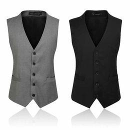Wholesale Thin Blazers - Men Suit Vests Blazer Waistcoats Classic Slim Casual Vest Thin Black Gray Sleeveness Jacket