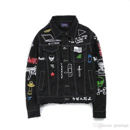 Wholesale Vintage Clothing Stand - Original Hip Hop Kayan Graffiti Cowboy Jacket Men's Jacket Made Old Patchwork Jacket Men's Brand Clothes Jackets Coat