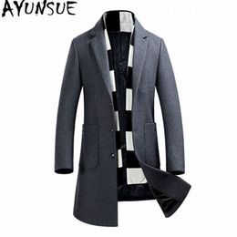 8a79c13b6e1b9 2019 chaquetas de lana para hombre AYUNSUE 2017 Moda Hombres Abrigo de Lana  Otoño Invierno Abrigo