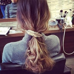 Argentina Moda mujer Accesorios para el cabello Aleación pluma perno para el cabello hoja hoja lateral clip primavera cola de caballo horquilla Superior joyería Hairgrip Barrette niñas Suministro
