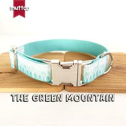 Wholesale Fresh Retail - MUTTCO retailing fresh style collar THE GREEN MOUNTAIN print dog collar 5 sizes