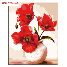 Вазы для картин онлайн-HELLOYOYOUNG цифровой живописи DIY ручная роспись маслом ВАЗа по номерам картины маслом китайский свиток картины рисунок