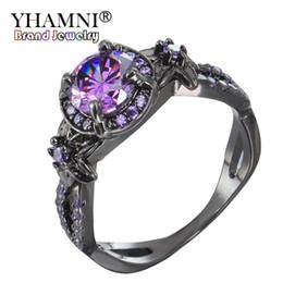 gioielli in pietra nera Sconti YHAMNI New Charming Stone Ring Viola CZ Zircone Diamante Moda Donna Gioielli da sposa Fiore Black Gold Filled Anelli di fidanzamento RED2008-P