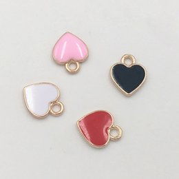 Wholesale handmade gold hair accessories - Free Shipping 20pcs lot 10*12mm Lovely Mini Heart Enamel Charms Pendant Fit DIY Bracelet Necklace Hair Jewelry Accessories Handmade Crafts