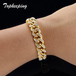 popular women s jewelry brands Rabatt Männer Luxus Gold Farbe Iced Out Strass Mode Armbänder Hochwertige Armreifen Miami Kubanische Gliederkette Armband für Hip Hop Boy