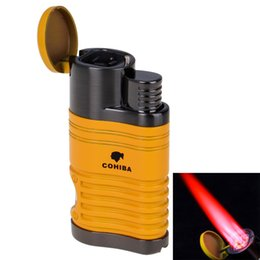 Wholesale cohiba torch - New COHIBA Fashion High-Grade Windproof Lighter Torch Jet Flame Refillable Inflatable Four Flame Cigar Lighter Cigarette Lighter