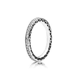 Anillos esterlinas para mujer online-Anillo de diamantes de plata real para mujer con caja original Fit Pandora Style Charm 925 Anillo de plata esterlina Regalo de San Valentín