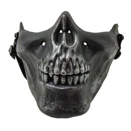 skull half face paintball mask Promo Codes - CS Mask Carnival Gift Scary Skull Skeleton Paintball Lower Half Face facemask warriors Protective Mask For Halloween Party Masks