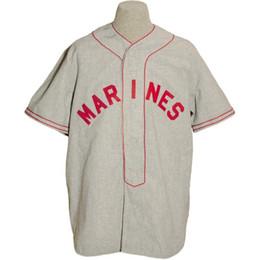 Logo de carreteras online-Cuerpo de Marines de los EE. UU. 1943 Road Jersey 100% bordado cosido Logos Vintage Baseball Jerseys Custom Cualquier nombre Cualquier número Envío gratis
