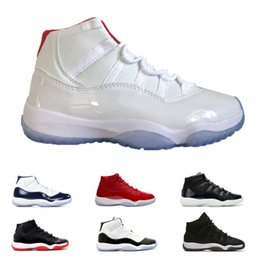 Wholesale leather ship - 11 White Red Cap and Gown Gym Red Black Stingray OVO Midnight Navy Bred Shoes 11s Mens Womens Kids Basketball Sneaker Drop Ship