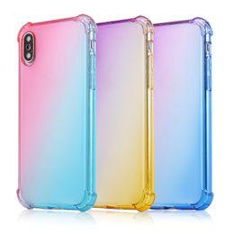 2019 caixa de telefone de silicone de polegada universal Gradiente cores anti choque airbag casos claros macios para iphone xr xs max 8 7 plus 6 s para samsung s10 s9 nota 9