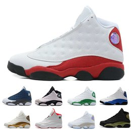 Wholesale cat army green - New 13s mens basketball shoes Hyper Royal Love Respect Bordeaux Flints Chicago DMP 3M History of Flight Olive Ivory Black Cat sports sneaker