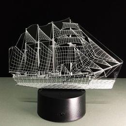 YKL WORLD 3D Lâmpada Vela Barco Navio Mood Lamps Toque 7 Mudança de Cor Melhores Presentes Crianças Luz Noturna LED Furnish Desk Mesa de Iluminação Decoração de Casa de Fornecedores de mudança de humor