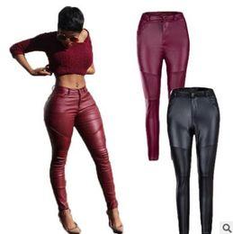 Wholesale Tight Black Stretch Pants - spring autumn winter women's pants Street style fold leather pants Tight stretch Pencil Pants fashion capris ladies apparel