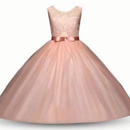 Vestido de encaje niña flor de la moda online-Baby flower dress TUTU lace Princess vestidos 2018 nueva moda de verano Ropa para niños Boutique girls Ball Gown 8 colores C3547