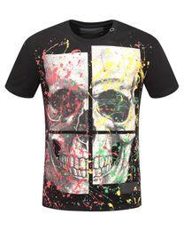 Wholesale Mens Colorful Fashion Shirts - 2018 New Designer Colorful Skulls Printed T-Shirt Men Luxury Brand Fashion Short Sleeve Cotton Tee Mens Crew Collar Casual T Shirts M-3XL