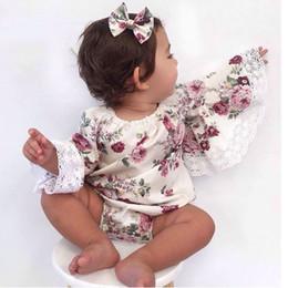 Canada Everweekend Bébé Barboteuses Fleurs Dentelle Enfants Filles Vêtements Princesse CombinaisonsInfant Automne Flare Manches Barboteuses Bébé Vêtements Offre