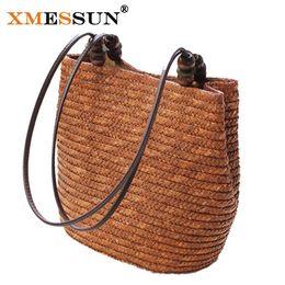 XMESSUN Brand Knitted Straw Bag Summer Flower Bohemia Fashion Women Handbags  Stripes Shoulder Bags Beach Bag Big Tote Bags L161 D18101104 34de36b591605