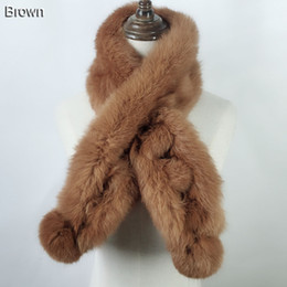 Wholesale Real Fur Scarfs - 2018 lady fashion autumn winter real rabbit fur muffler scarf warm soft comfortalbe 100% natural rabbit fur Scarves 100 cm