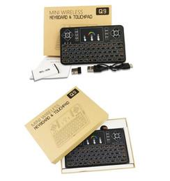 Li batteria ad aria online-Tastiere wireless 2.4G fly air mouse TZ Q9 tastiera touchpad batteria Li integrata 7 Telecomando retroilluminazione a colori chiari