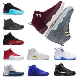 Wholesale suede laces - mens 12 12s Basketball shoes the master College navy Dark Grey flu game playoffs french blue gym red trainers Sports Sneakers size 7-13