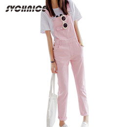 Combinaison rose femme en Ligne-2016 New Candy Color Preppy Style Fashion Overall Playsuit Denim Rompers Womens Pants Long Jumpsuit Jeans Women Black White Pink