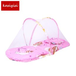 Wholesale Children Bedspreads - Baby Bed Nets Folding Mosquito Nets Infants Young Children Sleeping Pad Pillow Bedspread Mosquito Net Cartoon Cotton Bedspread