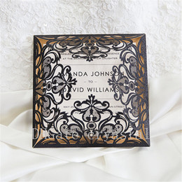 Wholesale Laser Paper Invitations - Luxury Black Glittery Laser Cut Wedding Invitations With Gold Glittery Mirror Paper, Provide Free Printing and Free shipping