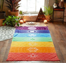 Wholesale Travel Towels Wholesale - Beach Towel Tassel Fringe Polyester Bohemia Wall Hanging Blanket Colorful Tapestry Rainbow Stripes Travel Summer Rectangle Yoga Mat